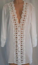 La Blanca Swim Cover Up White Crochet Cotton Long Sleeve Beach Tunic Size L