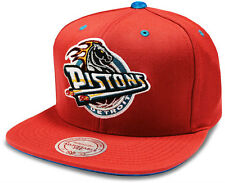 NBA Mitchell & Ness Detroit Pistons Velour Red Snapback Cap - Brand New