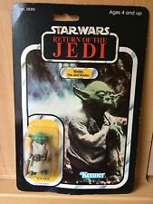 Vintage Star Wars Figure Rare Made in Mexico Yoda Carded On a 65 Backed Card