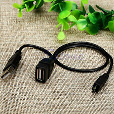 Micro USB 5 Pin Male to USB Female Host OTG Cable w USB Y Splitter Power Cable