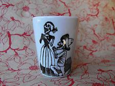 Skeleton Couple Black and White Sublimated Ceramic Shot Glass