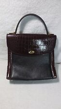 BLACK BROWN BALLY DRESS HAND BAG PURSE WORK HANDBAG LEATHER ALLIGATOR CROC