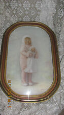 ANTIQUE ART DECO GOLD FRAMED VICTORIAN GIRL DOLL PHOTO CONVEX BUBBLE GLASS FRAME