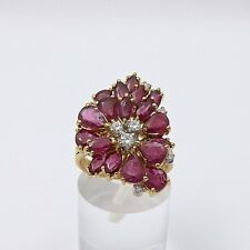 LeVian 18k Gold 9.24ctw Ruby Diamond Cluster Cocktail Ring Sz 6.5