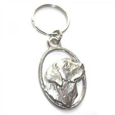 Labrador Dog Head PEWTER KEY RING FOB CHAIN BAG CHARM Owner BIRTHDAY PRESENT