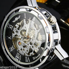 Classic Mens Luxury See through Mechanical Sport Army Skeleton Gift Wrist watch