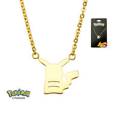 Officially Licensed Pokemon Gold Plated Seated Pikachu Pendant Necklace *NEW*