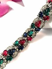 1936 A. PHILIPPE KTF TRIFARI RHODIUM SAPPHIRE EMERALD RUBY FRUIT SALAD BRACELET