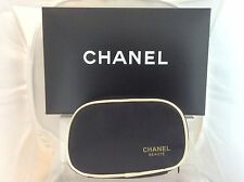 CHANEL Beaute Black with gold trim make up cosmetics case - zip around closure