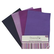 8 x A4 Dovecraft Polyester Craft Felt Sheets Assorted Colours Shades Art Felting