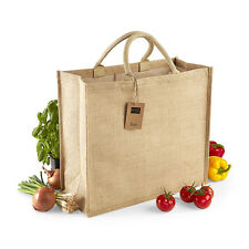 Westford Mill Jumbo Jute Shopper Bag Ladies Canvas Tote Bag For Life  (W408)