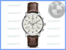 BMW Watch Chronograph 80262365452 Brown Leather Stainless Steel Genuine New