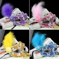 Fashion Mask with Feather Crystal Drills for Masquerade Costume Ball Tool