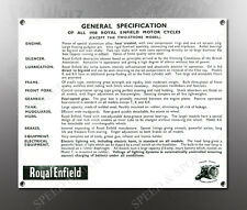 VINTAGE ROYAL ENFIELD 1938 GENERAL SPEC. IMAGE BANNER NOS IMAGE REPRODUCTION