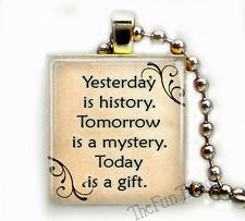 YESTERDAY IS HISTORY SCRABBLE® TILE ART PENDANT INSPIRATIONAL CHARM RELIGIOUS