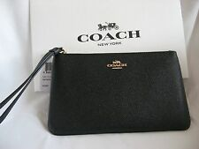 NWT COACH Black Crossgrain Leather Large Zip Wristlet/Bag F57465 MFSRP $125