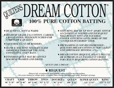 Batting Quilters Dream Cotton Request Low Loft Light Weight King Size Natural