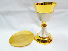 24k Gold plated Brass Chalice with Paten Goblet Ciborium Church Altar USCA11