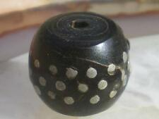 1Antique Lovely Black Coral Silver Inlay Prayer Bead from Yemen  XVIIIth  !!!!!