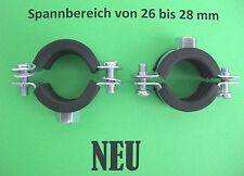 """50 Schraub Rohrschellen 3/4"""" mit Gummi 26-28  mm M8 Gewinde NEU Heizung Sanitär"""
