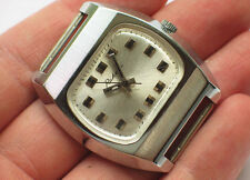 Rare soviet RAKETA watch Stunning silver TV-DIAL, Chromed case *USSR* '1970s