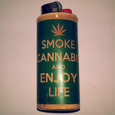 Smoke Cannabis & Enjoy Life BIC Lighter Case Weed Ganja Pot Holder Sleeve Cover