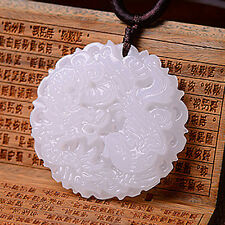 Exquisite Natural Hand-carved Chinese White Jade Dragon Phoenix Amulet Pendant