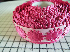 2m -Candy Pink, Daisy Flower Motif,Applique,Trimmings,Wedding -Satin Lace Ribbon