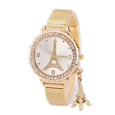 Fashion Women Gold Stainless Steel Strap Eiffel Tower Analog Quartz Wrist Watch