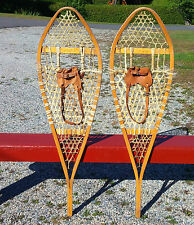 GREAT 'Gros Louis' SNOWSHOES 48x14 w/ LEATHER BINDINGS Snow Shoes Ready To Use!