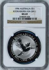 Australia 1996 P S$1 Silver Kookaburra NGC MS-69 Australian Coin Bullion Toned