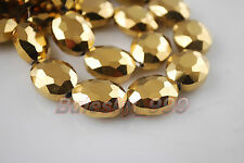 10pcs Glass Crystal Charm Flat Oval Necklace Finding Spacer Loose Bead 20x16mm