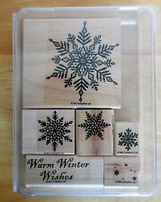 """2001 Stampin Up SNOWFLAKES 6pc RUBBER INK STAMP SET Large 3"""" Snowflake + more"""