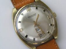 VNTG WALTHAM AUTOMATIC DAY DATE 17 JEWEL INCABLOC WATCH LEATHER STRAP