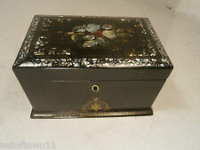 Antique Papier Mache Tea Caddy Box , Mother of Pearl inlay refA650