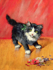 Classical oil painting lovely and cute Kittens nice animnal playing Hand painted