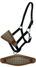 Showman TEAL Brown Navajo Nylon Bronc Leather Noseband Horse Halter CopperConcho