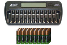 12 Bay AA / AAA LCD Battery Charger + 24 AA 2450 mAh Duracell NiMH Batteries