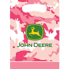 JOHN DEERE PINK CAMOUFLAGE FAVOR BAGS (8) ~ Birthday Party Supplies Loot Goody