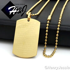 "30""MEN Stainless Steel 2.5mm Gold Beads Chain Bible Verse Dog Tag Pendant*P70"