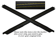 YELLOW STITCH 2X DOOR SILL TRIM LEATHER COVERS FITS FORD SIERRA COSWORTH 3 DOOR