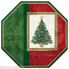 """8 Classic Christmas Tree Joy 10"""" Large Octagon Disposable Paper Party Plates"""