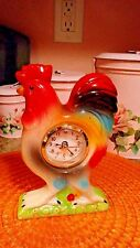 Vintage 70'S Ceramic Rooster Kitchen Counter Table Working Clock FRENCH COUNTRY
