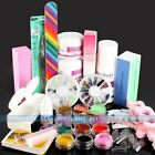 Nail Art Kit Acrylic Powder Liquid UV Gel Powder Kits File Brush Primer Sticker