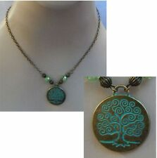Gold & Green Celtic Tree of Life Pendant Necklace Jewelry Handmade Fashion NEW
