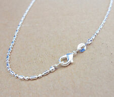 "Wholesale 16"" 1PCS Fashion Jewelry 925 Silver Plated Column Ball Chain Necklace"