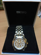 Men's Seiko 7T62-0EW0 St.Steel Alarm Chronograph Sports Watch Sapphire glass