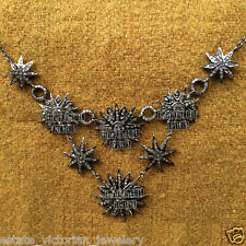 Vintage Estate 6.97cts Rose Cut Diamond Sterling Silver Star Necklace Jewelry
