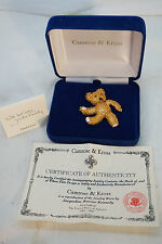 CAMROSE KROSS JACKIE KENNEDY PIN TEDDY BEAR BROOCH BOX COA JBK JEWELRY GOLD PLAT