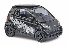 HO 1/87 Busch # 46129 Smart Car Fortwo Black w/white Skull Graphics